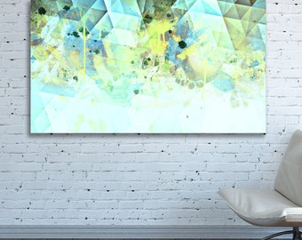 CANVAS PRINT Geometric Minimal Abstract Wall Art Triangles Abstract Painting Large pastel Light white oversized Neutral horizontal Huge art