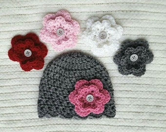 Baby girl gift, crochet baby beanie, interchangeable flowers, crochet baby hat, newborn photo prop, newborn hat, baby girl beanie, girl hat
