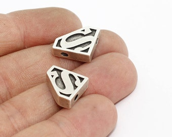 13x20mm Antique Silver Superman Charms, Bracelet Connector, AE76