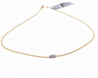 Clarity Tiny Iolite Necklace, Short Minimalist Layering Necklace