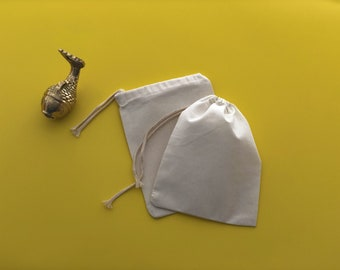 """50 pcs 5"""" x 7"""" PC Single Drawstring Bag - Thick Drawstring - Natural Muslin Bags"""