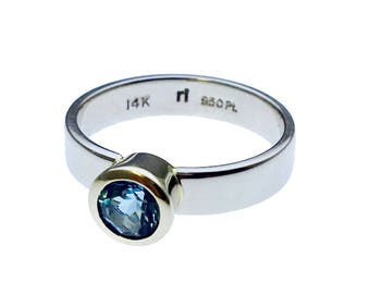 14k White Gold Aquamarine Ring