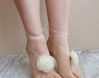 Flower Barefoot Sandals Wedding, Bridal Barefoot Sandals, Flower Sandals, Bridal Flower Sandals, Beach Wedding Party, Wedding Photo Prop