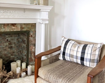 """Farmhouse Check and Flannel Pillow Cover 16"""" x 26"""""""