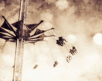 Black & White Photography Fine Art Print, Carnival Ride Vintage Home Decor, Fair Wall Art - Play In The Sky BW Print