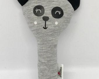 Fabric soft rattle organic panda, grey and black, Bell, Scandinavian style, awakening, rattle baby toy-Montessori toy, baby shower gift, baby gift