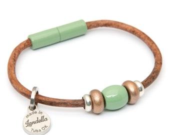 Leather Magnetic Landella Jade Green & Copper Shimmer 3 Bead Bracelet