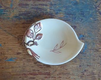 Vintage Carlton Ware Australian Design Ring, Trinket, Candy, Butter Dish Hand Painted Leaf