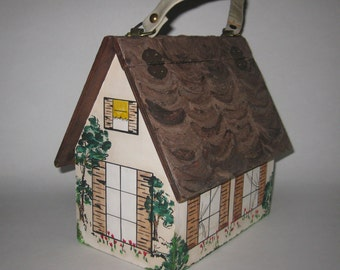 Wooden Wood Purse House Artist Hand Painted Hinged Lid Country Home Mid Century 1980's Vintage