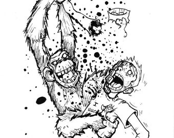 Chimpanzee ripping my arm off drawing