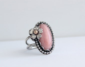 Custom Order for MIchelle ----- Cherry Blossom and Peruvian Pink Opal Ring
