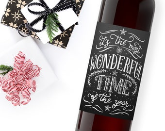 christmas wine label / custom wine label / holiday party favor / christmas gift ideas / it's the most wonderful time of the year / WLH-12