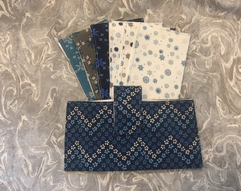 Blue and Gray Dave Ramsey Fabric Cash Envelopes budgeting system or couponing system with wallet