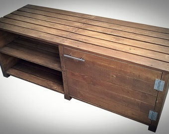Tv unit, Wood Hifi Stand, Recycled Wood Pallet, Rustic home decor, Solid Wooden TV Stand, Madrid