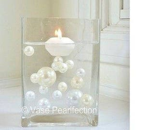 Ivory/Champagne & White Pearls - Jumbo/Assorted Sizes Vase Fillers for Centerpieces