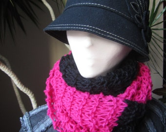 Black and Pink Knit Infinity Cowl, Knit Cowl, Knit Scarf, Knit Infinity Cowl, Infinity Cowl, Knit Infinity Scarf, Valentines Gift
