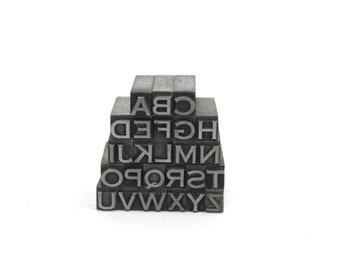 Vintage Metal Letterpress Alphabet Upper Case Letters Complete Set