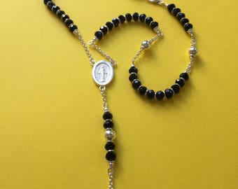 Rosario 59 beads Onix and Silver