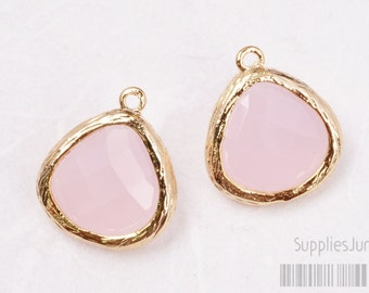F100-G-RO// Gold Framed Frosted Rose Faceted Glass Stone Pendant, 2 pcs