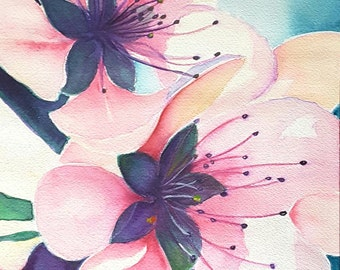 Cherry blossoms, original watercolor, ooak, wedding, birthday gift idea, wall art, home office decoration, bedroom art, living room decore.