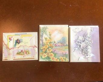 3  Vintage 1940s or 1950s Greeting Cards - NEVER USED 2 Get Well ~ 1 Sympathy