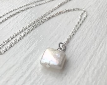 Square pearl necklace, square freshwater pearl pendant, square pearl pendant, freshwater pearl necklace, pearl necklace, silver necklace