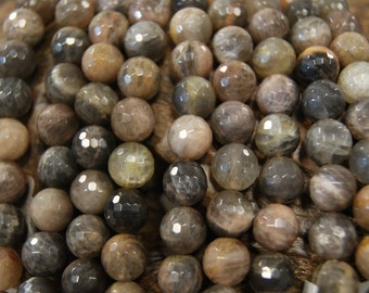 10, 12mm Faceted / Smooth Round Sunstone Gemstone Beads -15 inch strand