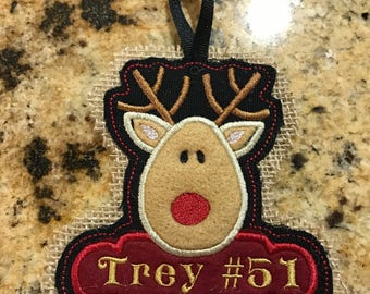 Personalized Ornament, , deer, embroidered