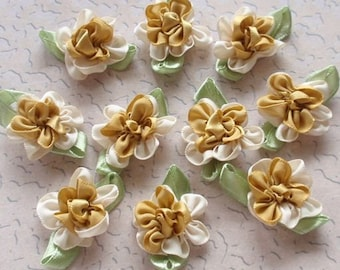 10 Handmade Ribbon Flowers With Leaves (1 inch, With leaf size 1-1/4) In Cream, Dijon MY- 035 - 06 Ready To Ship