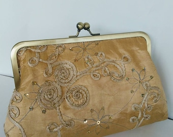 Gold floral sequin wedding evening prom clutch purse BBsCustomClutches READY TO SHIP