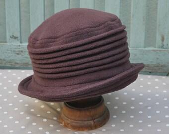 chocolate brown fleece cloche hat