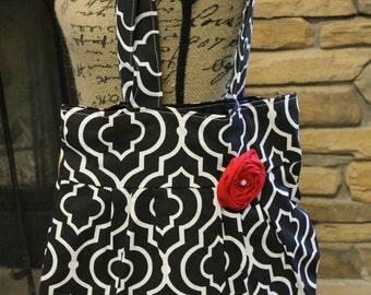 Black and White Bag, Black and White Quarterfoil Handbag
