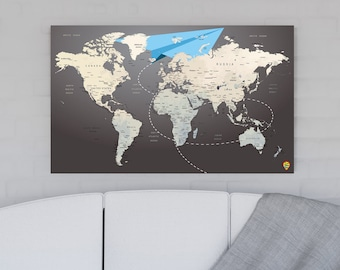 World Travel Map, World Map Canvas, Trip map, Map, World map, World map push pin, Wall decor map, Travel gift, Streched or Rolled prints