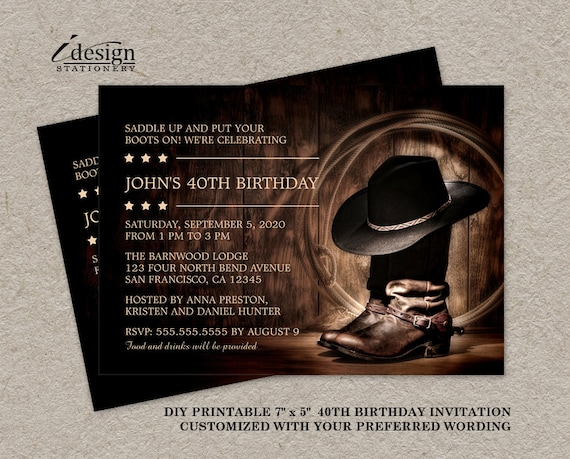 Country western 40th birthday party invitation with cowboy stopboris Image collections