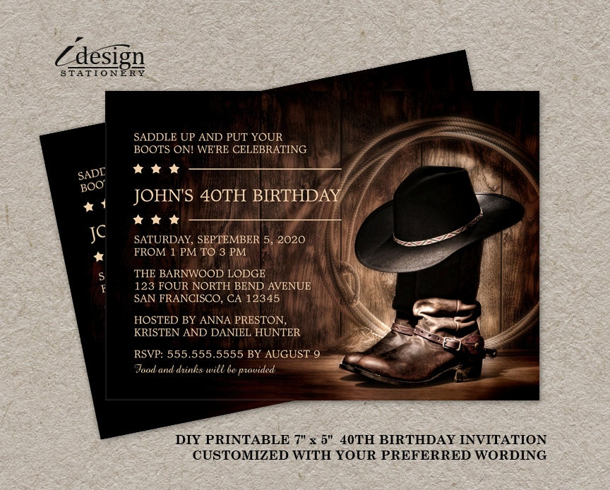Country Western 40th Birthday Party Invitation With Cowboy