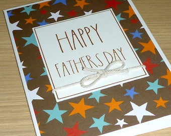 Fathers Day card - coloured stars -  dad daddy father grandpa pop - handmade greeting card
