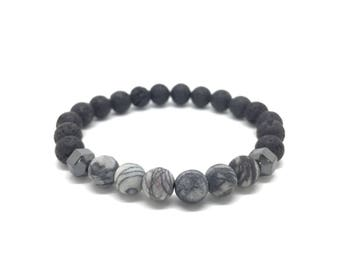 Bracelet on Picasso Jasper, Lava and Hematite gemstones beads - gray and black