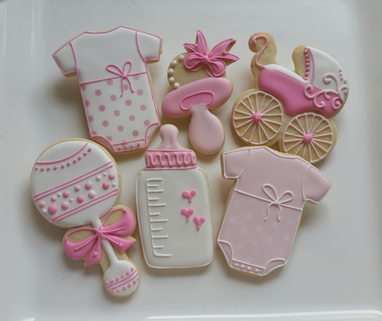 Baby Shower Cookies Favors ~ Dozen decorated cookies baby shower little girl boy