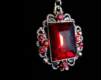 Red crystal silver Gothic Victorian Necklace silver filigree pendant mothers gift woman gift teen girl gift free shipping her gift medieval