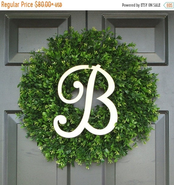 SPRING WREATH SALE Monogram Boxwood Wreath, Boxwood Wreath with Personal Initial, Fall Wreath, Front Door Decor, Etsy Wreath