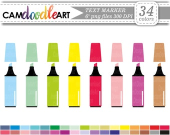 Text Marker Clipart, School Clipart, Office Clipart, Scrapbooking Clipart, Back To School Clipart, Instant Download Clipart, png file