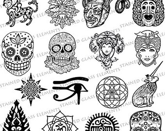 Folklore ceramic decals, ceramic decals for image transfer, myths transfers, sepia transfers, glass pendants, skull decals, quality decals