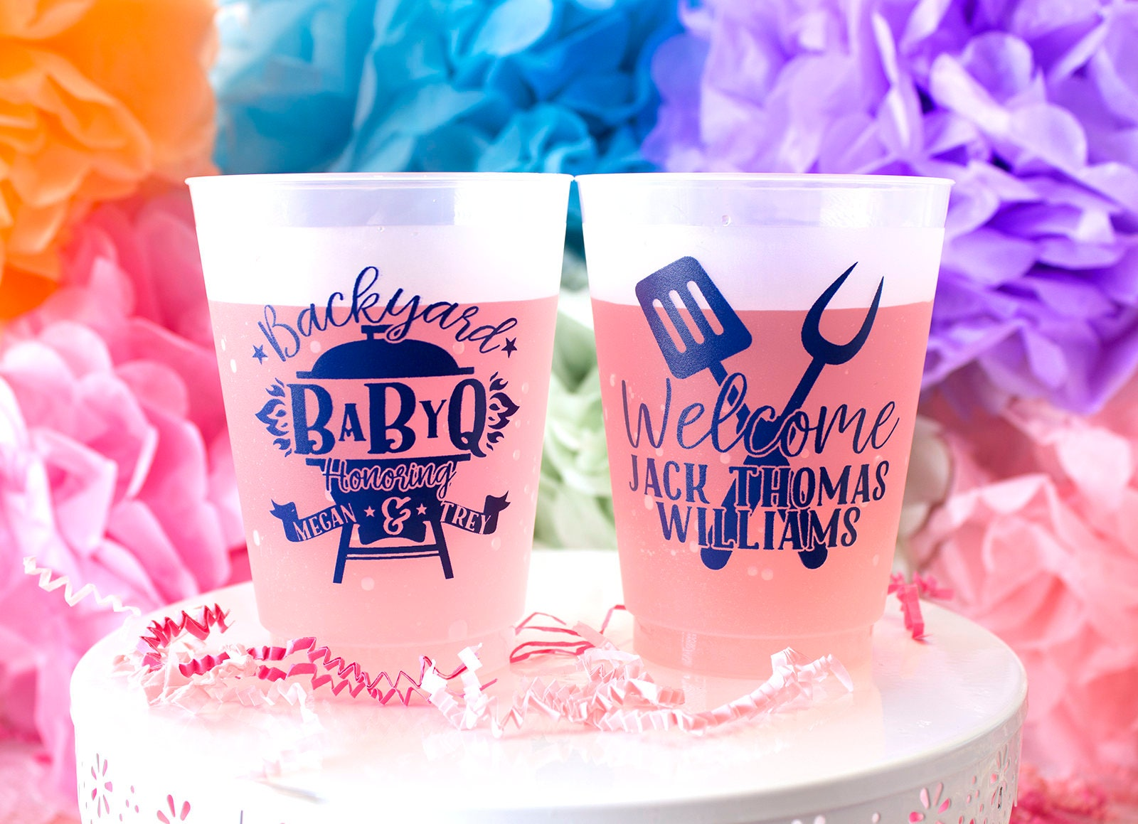 Personalized Plastic Cup Baby Q Shower BBQ Baby Shower