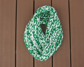 Green and White Crocheted Infinity Scarf