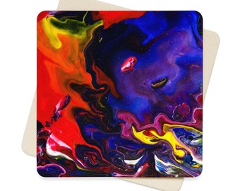 Space Rainbow Paper Coasters 6Pc, Original Fine Art Abstract Acrylic Pour Painting Print