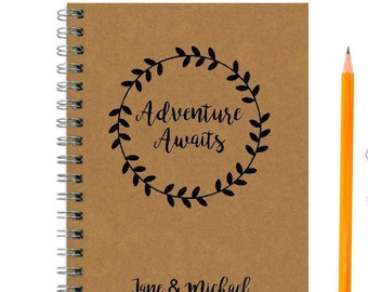 Wedding Gift for Couple, Adventure Awaits Personalized Notebook, Travel Journal, Anniversary Engagement Gift, Personalized Journal
