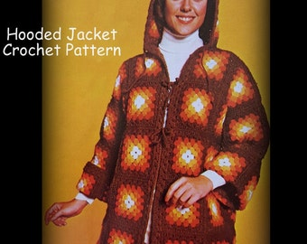 Crochet Hooded Jacket Pattern, Granny Squares, Ladies, PDF Pattern 01012256