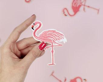 Patch fusible Flamingo / DIY appliques and fabric badge / mischievous shop