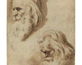 Two Studies of a Man's Head, Flemish Pen and Ink Drawing Print
