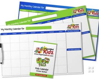Dry/Erase Kids Wall Calendar with 250+ reusable stickers!